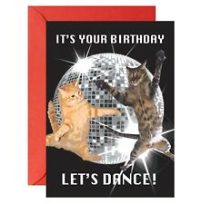 ITS YOUR BIRTHDAY LETS DANCE MIRROR BALL CAT KITTY GREETINGS CARD FUNNY HUMOUR