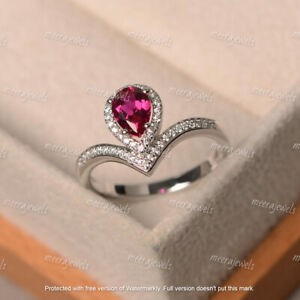 2.30Ct Pear Brilliant Cut Red Ruby Halo Engagement Ring 14K White Gold Finish