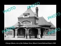 OLD LARGE HISTORIC PHOTO OF CHICAGO ILLINOIS, THE PULLMAN RAILROAD DEPOT c1900