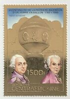 Central African Republic #614A MLH CV$25.00 Gold-Embossed Rozier/Montgolfier