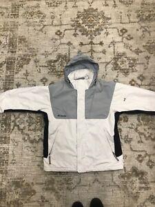 columbia jacket men medium, white, gray, black, winter, light weight, warm, ski