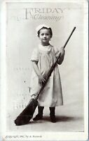 1907 Friday Cleaning Girl w Broom A. Hansen Vintage Postcard