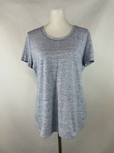 T Talbots Petites LP Athletic Tee Shirt Blue Heather Scoop Short Sleeve Casual