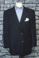 Hart Schaffner Marx Men's Navy Blue Wool Sport Coat Blazer 42L 42 Long