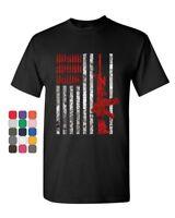 Americal Flag Rifle T-Shirt 2nd Amendment Bullets Ammo Patriotic Mens Tee Shirt