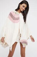 Free People Sweatshirt Poncho Hood Oversize Easy Fit Ivory Pink Rainbow OS NEW