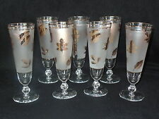 7 VINTAGE LIBBEY 'GOLD LEAF' 8oz PILSNER WINE GLASS FROSTED PEDFALL PARFAIT