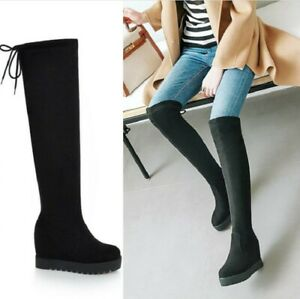 Ladies Suede Round Toe Over The Knee High Wedge Heel Womens Stretch Casual Boots