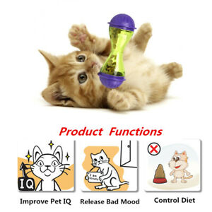 Interactive Cat Food Feeding Treat Ball Toy Tumbler Kitty Game Bowl For Pet