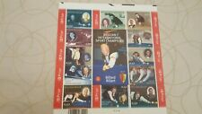 Feuillet de  12 timbres belges non oblitérés  BILLARD SPORT CHAMPIONS