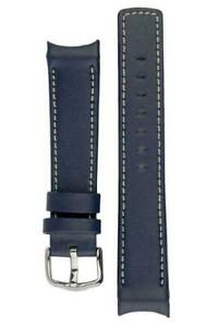 Hirsch MEDICI HEAVY CALF Curved Ended Watch Strap BLUE & WHITE  18mm