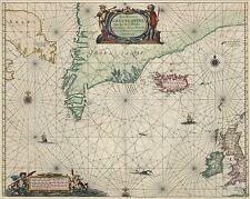 "MAPPA del Nord Atlantico Groenlandia Islanda Johannes Janssonius 1650, ristampa 10x8"""