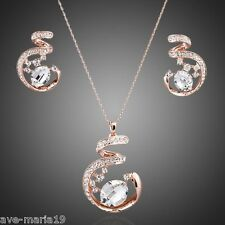 Unique Design 18K Rose Gold Plated Swarovski Crystals Earrings and Necklace Sets