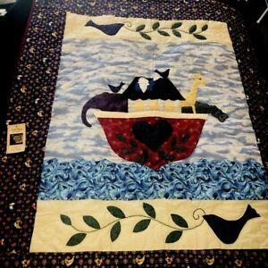 "Handmade Amish Patchwork Quilt Wall Hanging 39x50"" Noahs Ark Applique"" Hand Sewn"