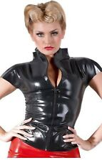 Latex Faux Glossy Black Top Blouse High Neck Short Sleeves