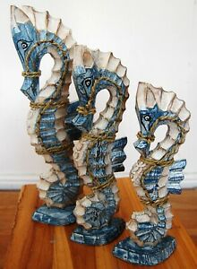 Set of 3 free standing painted sea horses from Bali - blue - 36 cm, 31 cm, 27cm