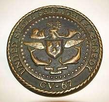 Vintage BRONZE USS John F Kennedy CV-67 Ship Plaque - US Navy Badge Crest