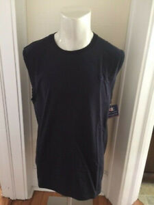 Champion Men's Large Navy Blue Muscle Jersey Shirt Sleeveless Athleticwear NWT
