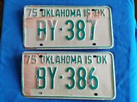 Matched Pair of Oklahoma USA American Unused License Plates - OK Licence Plates