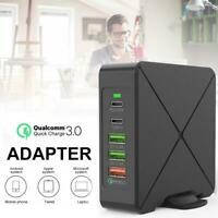 75W 5-Port USB C PD Charger QC 3.0 Fast Wall Charger Hub for Macbook iPad iPhone