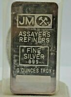 JM ASSAYERS REFINERS 10oz .999 Fine Silver Bar .