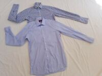 TM Lewin & Moss Esq Men's Long Sleeve Smart Shirts 15.5 neck x 2 bundle Blue
