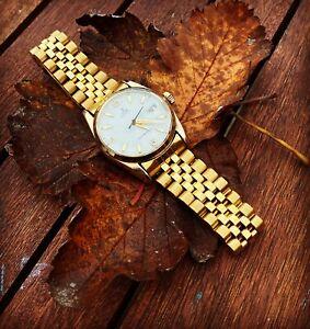 Vintage 18k Gold Plaque Rolex Tudor Oysterdate Mechanical Auto Watch Luxury Men