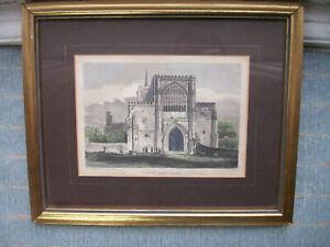 Old Antique Engraving St Albans Abbey Church R Roffe c.1801 Watercolour Detail