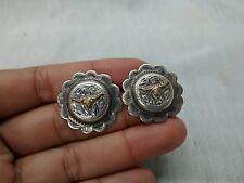 Pretty vintage southwestern DH sterling gold filled long horn pierce earrings