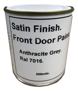 1 x 500ml Front & Garage Door Paint. Anthracite Grey Ral 7016 Satin Finish. Dark