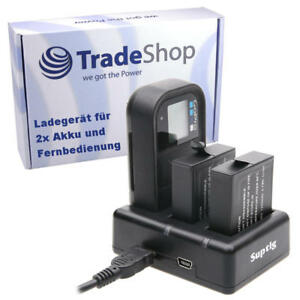 Ladestation Ladegerät für 2x Akku und Fernbedienung GoPro Hero 5 6 7 8 AHDBT501