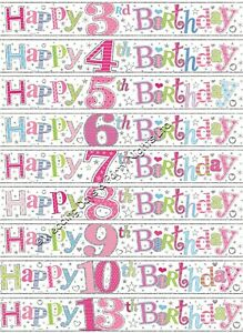 9ft Girls Sparkly Happy Birthday Pink Foil Banner Party Wall Door Decorations E