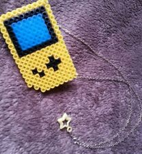 Yellow Gameboy Perler Bead Handmade Kitsch Geek Alternative Pixel Art Necklace