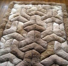"Area Rug 68"" X 80"". Soff Alpaca Fur. Rectangle Brown.""Y"" Design. Soft alpaca fur"