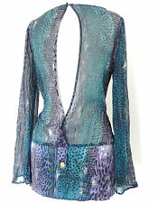 Marciano Top Long Sleeve Tunic Open back Size S/P Multi-Color Chiffon