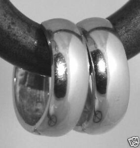 Solid 14K White Gold 15.5 x 5mm Wide Huggies Hoop Earring ITALY 2.2g RARE BEAUTY