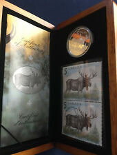 2004 Canada The Majestic Moose $5 Silver Proof Coin and Stamp Set in Case E5425