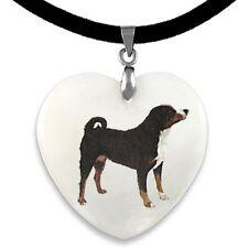 Appenzeller Sennenhund - Perlmutt Herz Anhänger mit Samtkette PP032