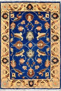 2 x 3  Zeigler Vegetable dye hand-knotted blue area rug and carpets