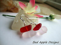 Sea Glass Rose Blush Pink Cranberry Red Silver Dangle Earrings