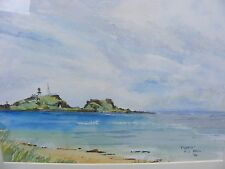 Scottish Acuarela Fidra isla firmado H.J. Bell