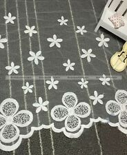 "Nice Lace Trim White Retro Cotton Embroidery Fabric Wedding 13.7"" width 1 yard"
