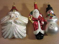 3 Christopher Radko Christmas Ornaments - Santas & Snowman
