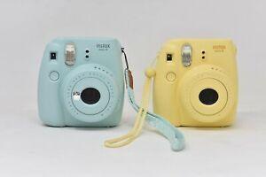 Fujifilm Instax Mini 8 Yellow & Instax Mini 9 Ice Blue Polaroid Cameras Working