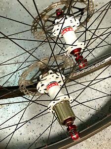 Carver C38 tub. wheelset w/ disc rotors/Tufo tires, white hubs red nips/skewers
