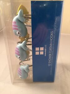 Fish Shower Curtain Hooks Hangers Blue Yellow Essential Home 12