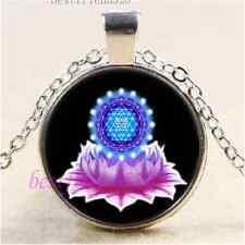 Lotus flower Sri Yantra Cabochon Glass Tibet Silver Chain Pendant Necklace