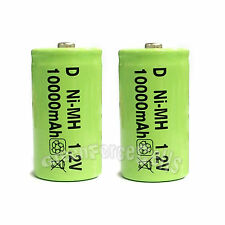 2 Pcs D Size R20 1.2V 10000mAh Ni-MH rechargeable Battery Cell Green