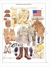 PLANCHE UNIFORMS PRINT WWII UNITED STATES US ARMY AIRBORNE SAMMIES EUROPE