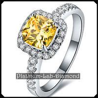 3.0ct Yellow Stone Platinum PT950 Woman Ring Lab Grown Diamond Hybrid White Gold